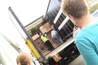 The garden being loaded into the lorry at Malvern.